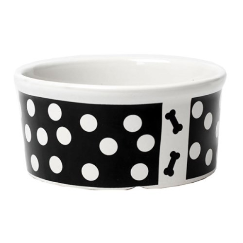 Dishes, Feeders & Fountains Black Paw Dog Bowl With White Bowl And Black Dots